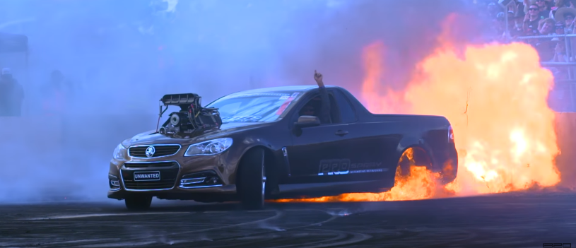 aussie ute burnout fire