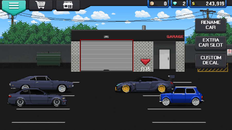 pixel car racer garage