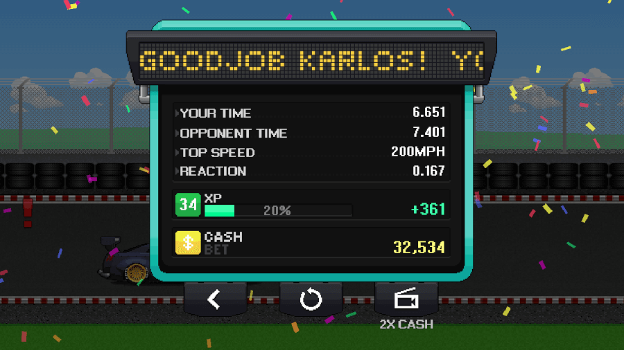 pixel car racer drag quarter mile times