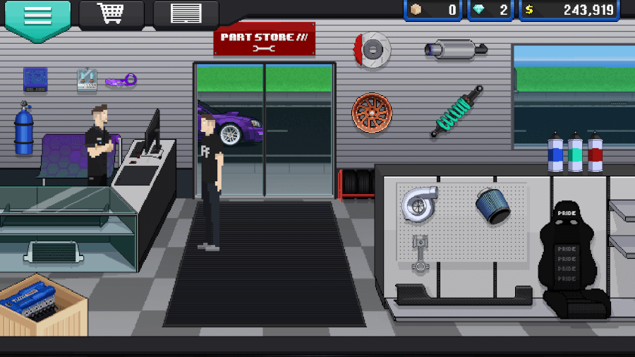 pixel car racer parts shop